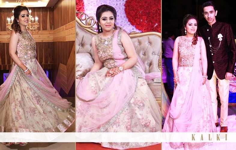 light pink floral reception kalki lehenga