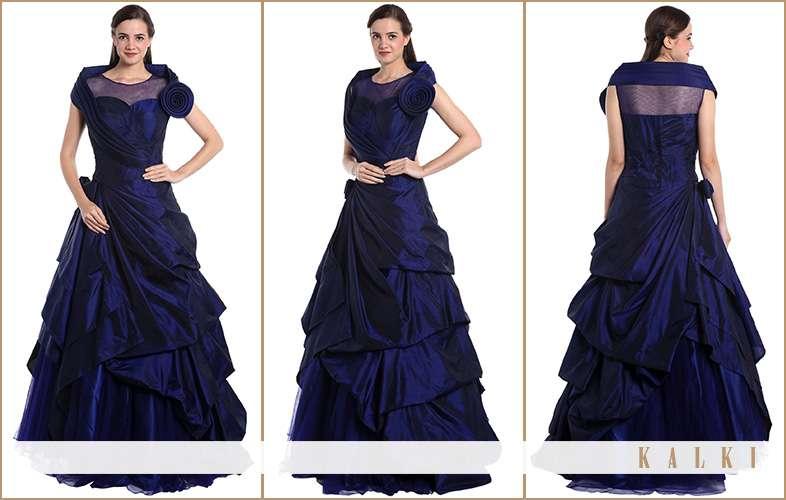 kalki reception gown in satin silk