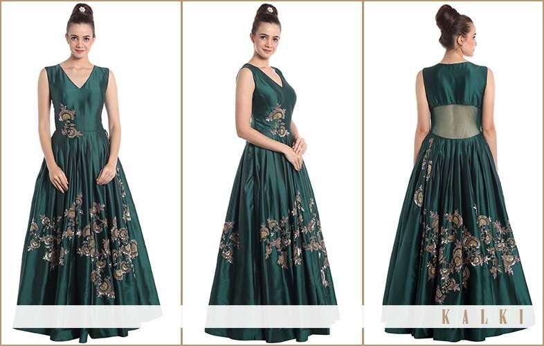 kalki indo western gown in teal green