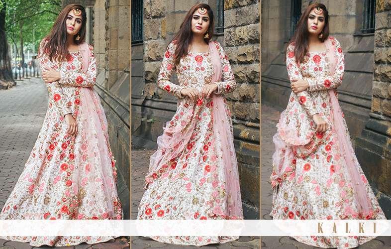 Mehek Ghai pastel pink and floral anarkali