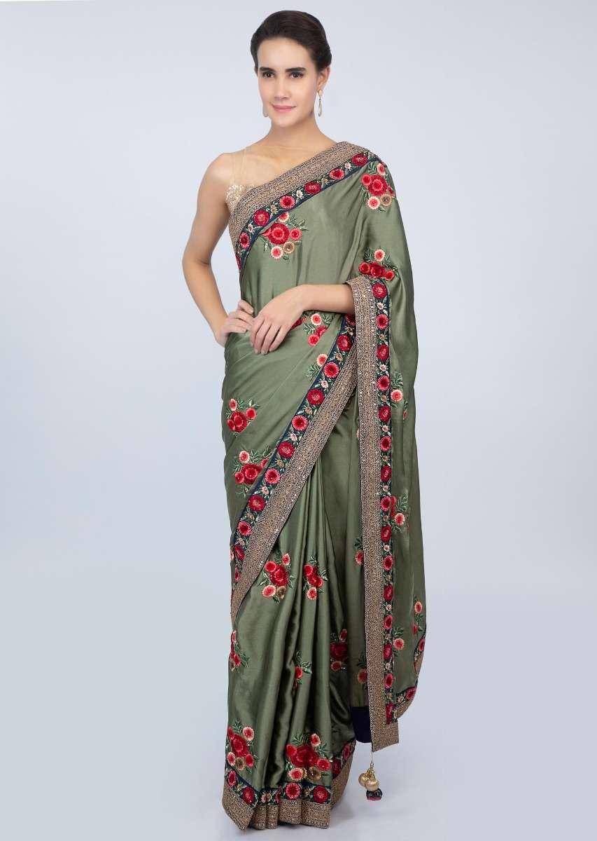 Sage green satin saree