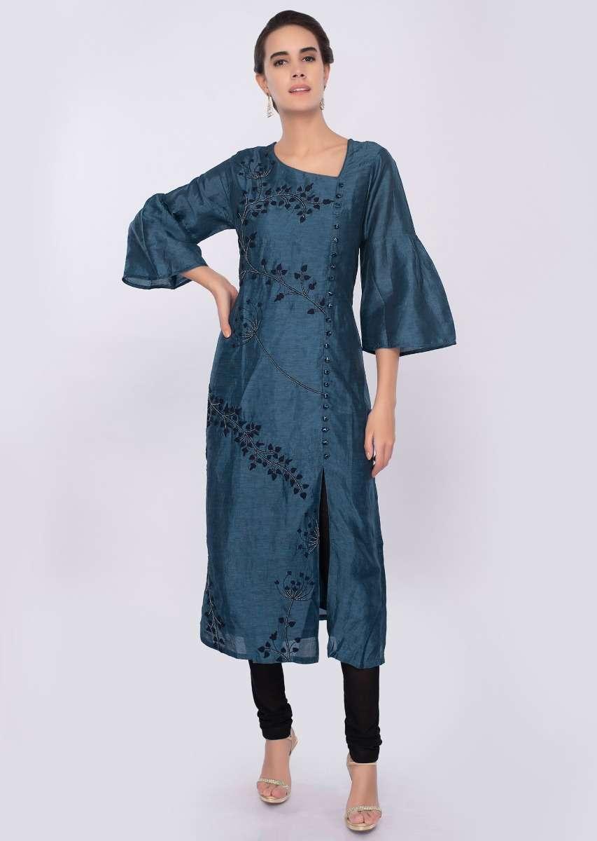 Yale Blue Cotton Silk Kurti