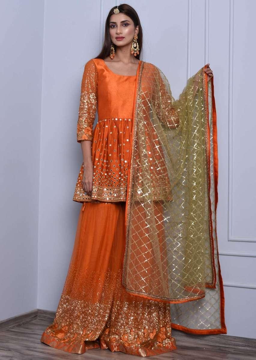 orange silk sharara suit