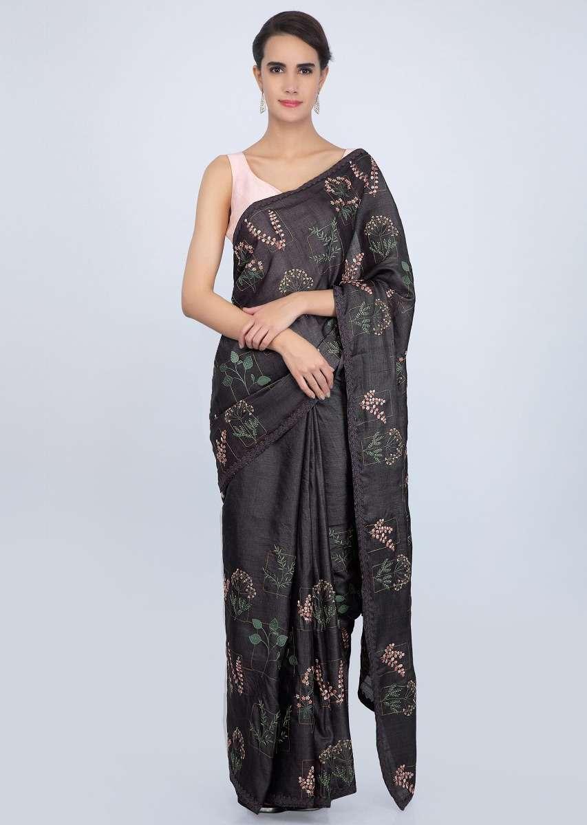 Tussar Multi-coloured Floral Silk Saree