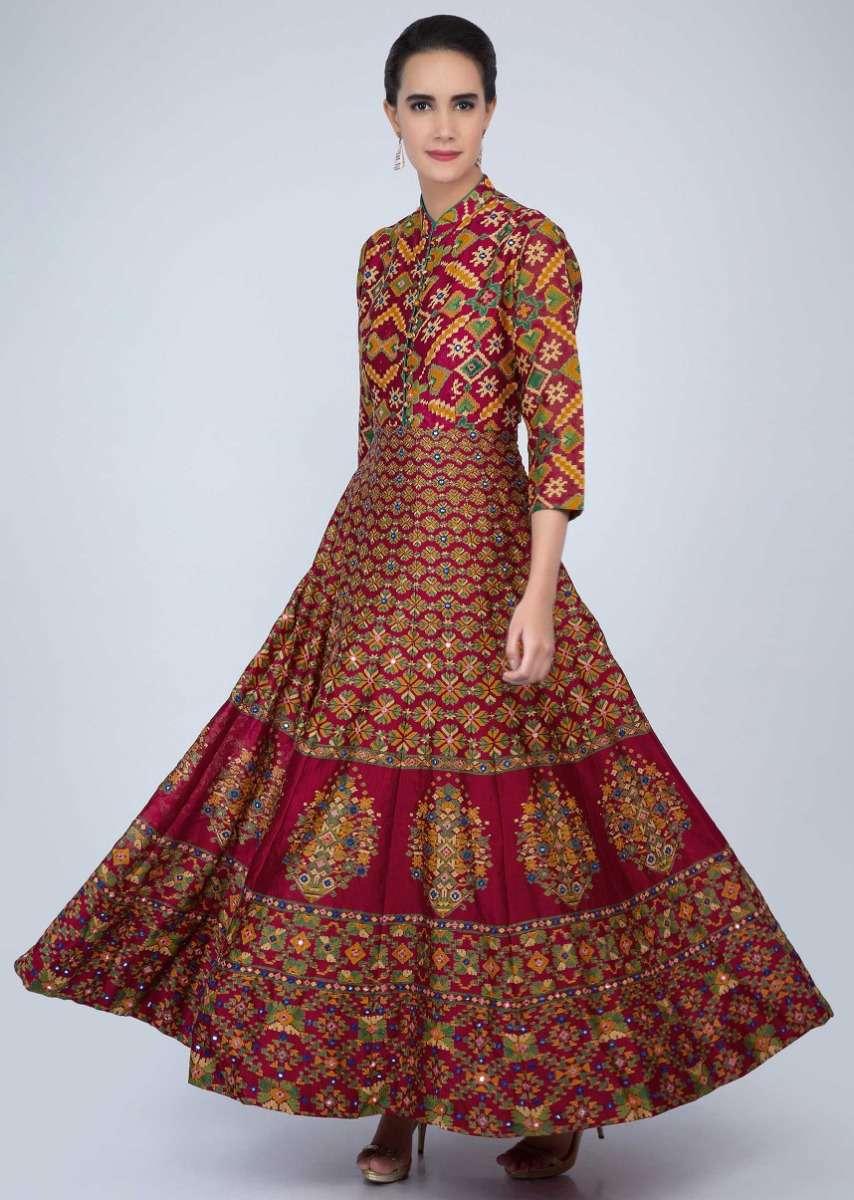 Magenta long tunic dress