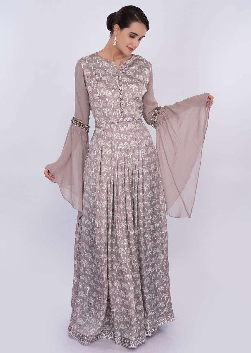 Beige satin silk printed tunic dress