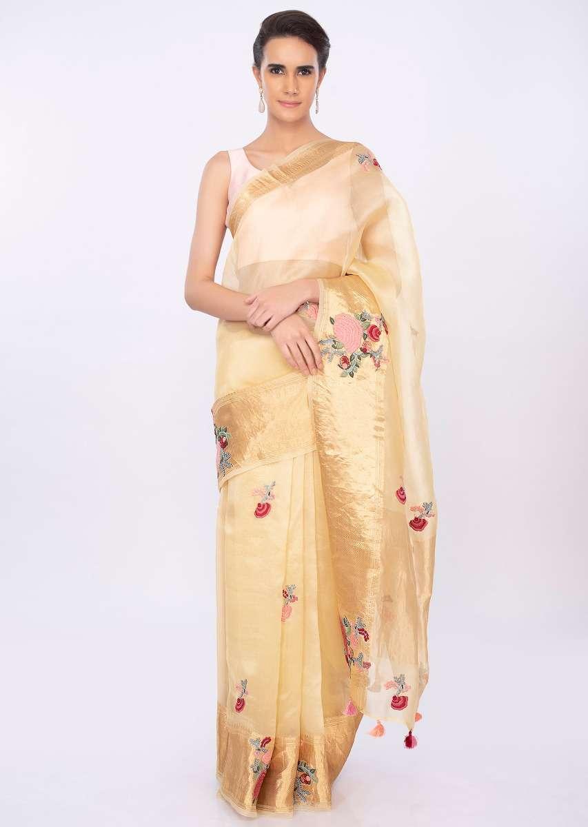 Organza Saree with Multi-coloured Floral Butti