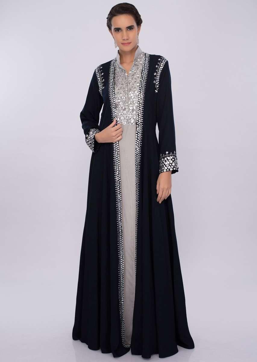 Silver grey crepe tunic dress