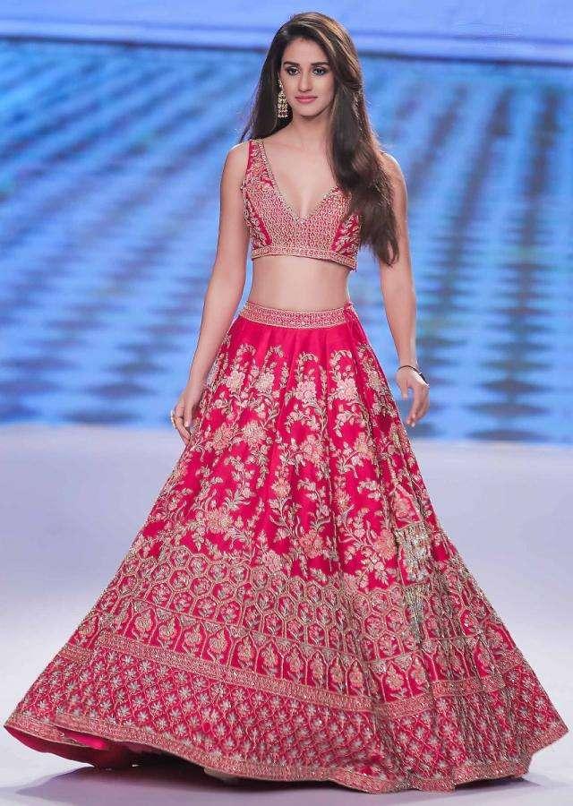 Disha Patani in Kalki Floral Pink Raw Silk Lehenga