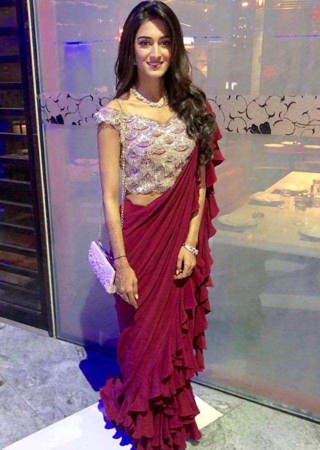 Erica Fernandes in Kalki Plum Georgette Saree