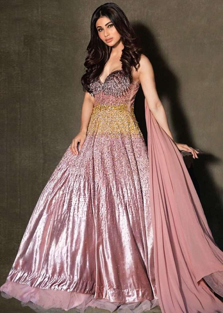 Mouni Roy In Kalki Dusty Rose Gown