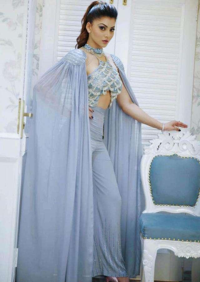 Urvashi Rautela In Kalki Blue Heather Halter Neck Jumpsuit
