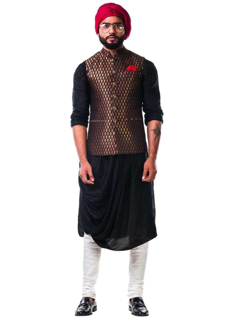 Black Cowl Kurta Set With A Black Brocade Nehru Jacket With Golden Floral Motifs Online - Kalki Fashion