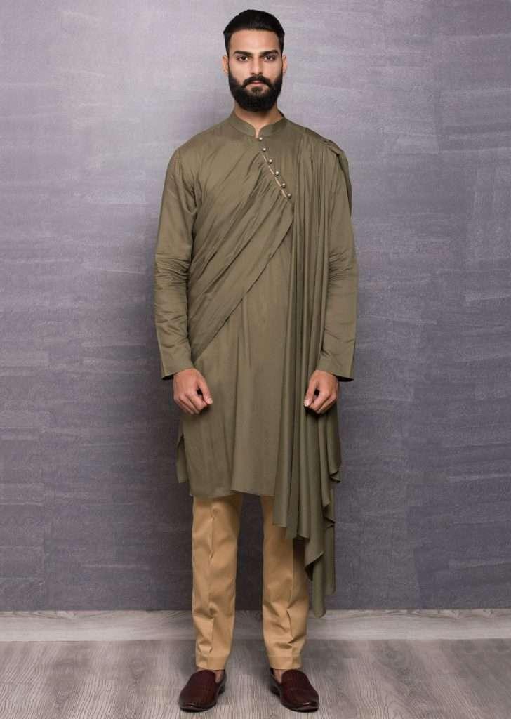 Green Kurta In Cotton With Side Drape Online