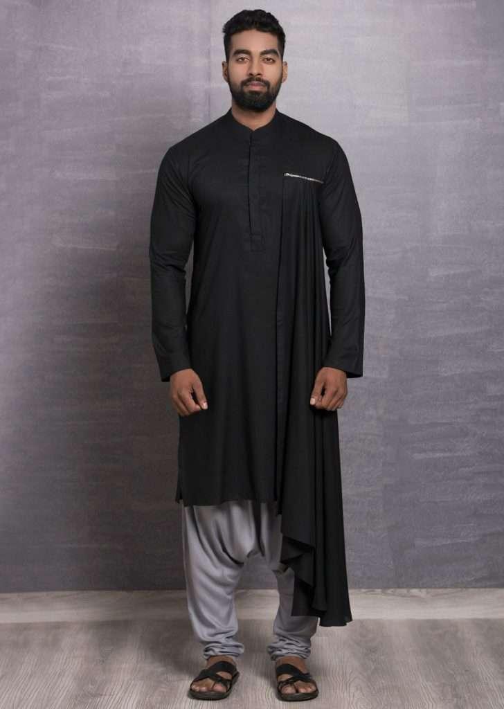 Black Cotton Kurta Additional Draped Layer Online