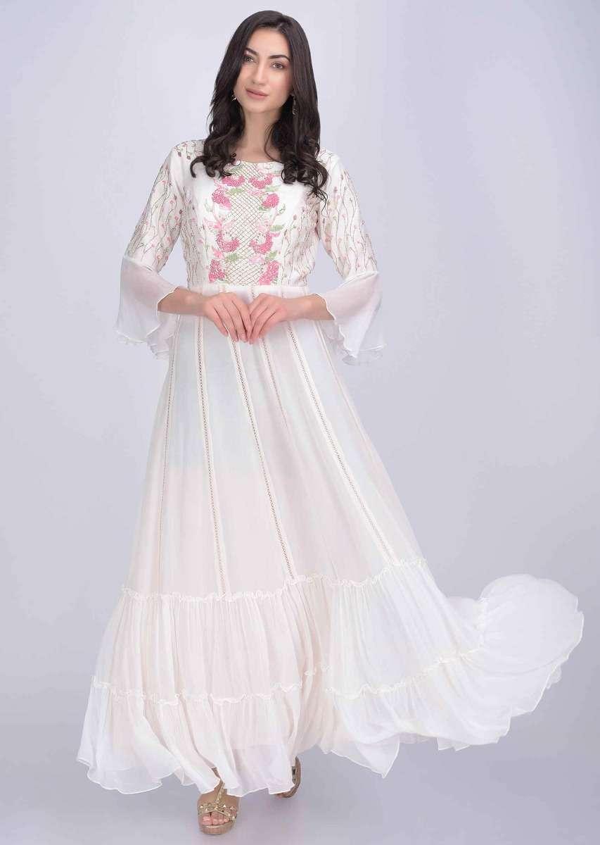Pearl White Anarkali Dress In Chiffon And Cotton Silk