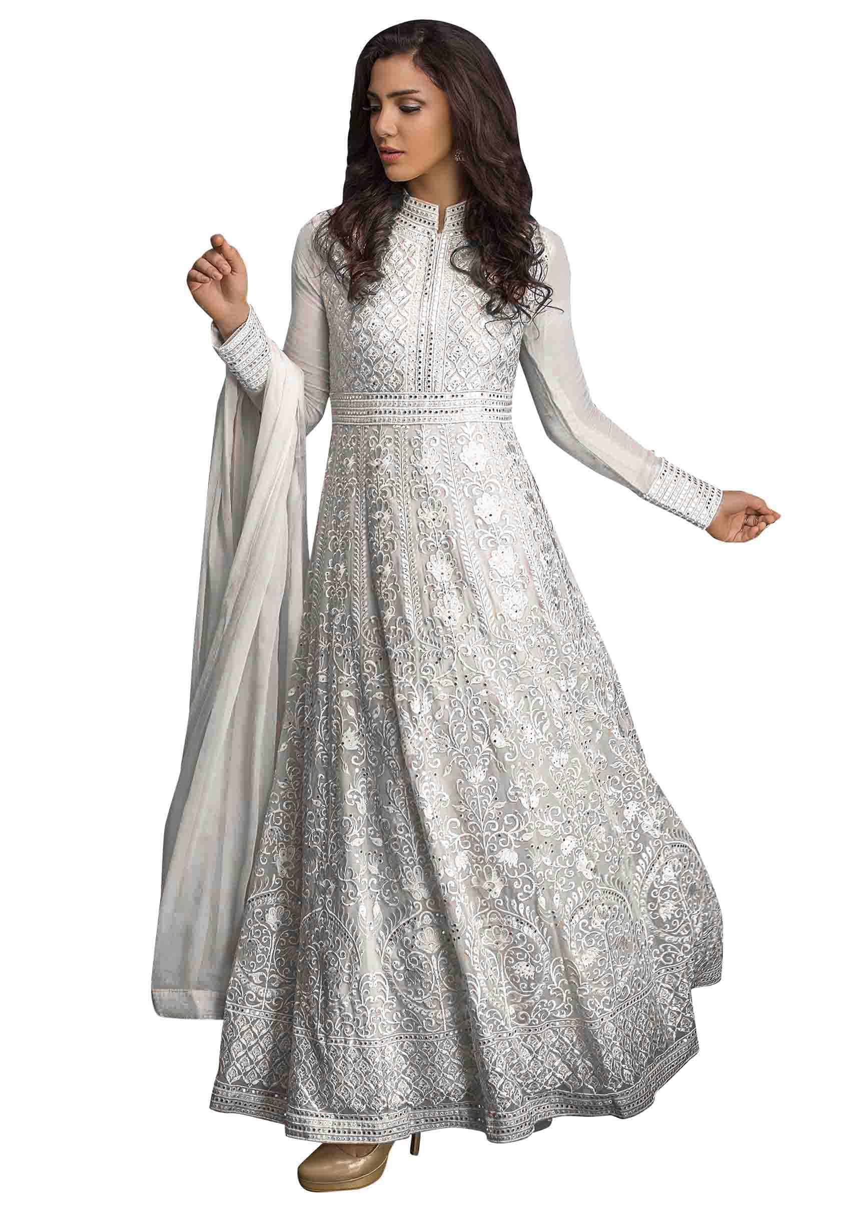 Snow White Anarkali Suit In Resham And Kundan Work
