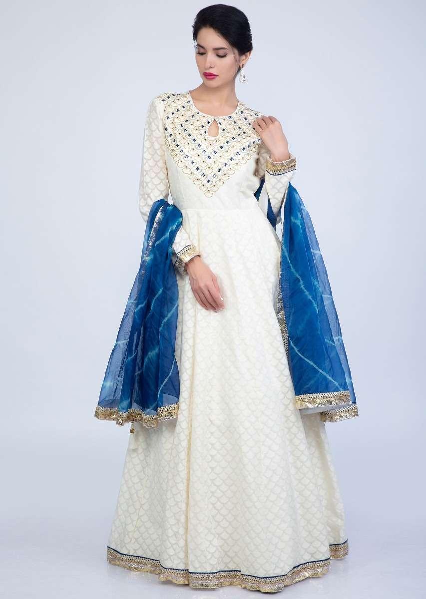Off White Anarkali In Jacquard Cotton