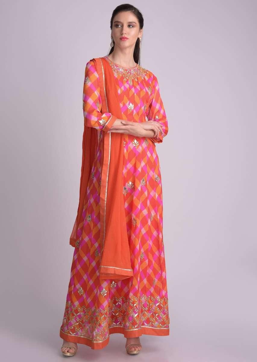 Orange And Pink Anarkali Suit In Chiffon With Lehariya Print Online - Kalki Fashion