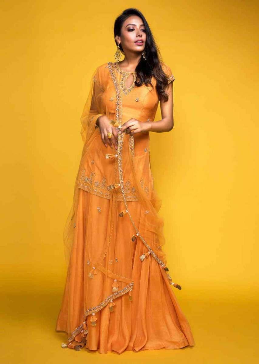 apricot-orange-cotton-silk-short-kurta-suit-with-flared-palazzo-pants-only-on-kalki-497795_3_