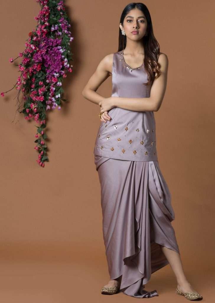 coffee-colour-fitted-short-kurta-draped-dhoti-skirt-online-kalki-fashion-509153_2_