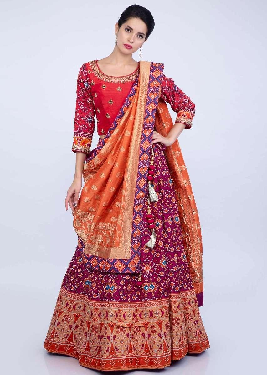 magenta-and-orange-shaded-patola-printed-lehenga-and-blouse-with-orange-brocade-silk-dupatta-only-on-kalki-482482_6_
