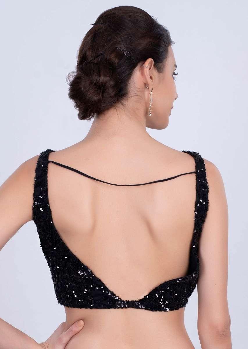 black-soft-net-blouse-with-cowl-neckline