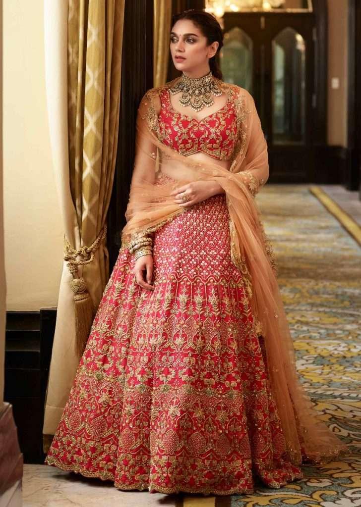 Aditi Rao Hydari In Kalki Scarlet Red Lehenga In Raw Silk With Elaborate Hand Embroidery Work In Floral And Moroccan Pattern