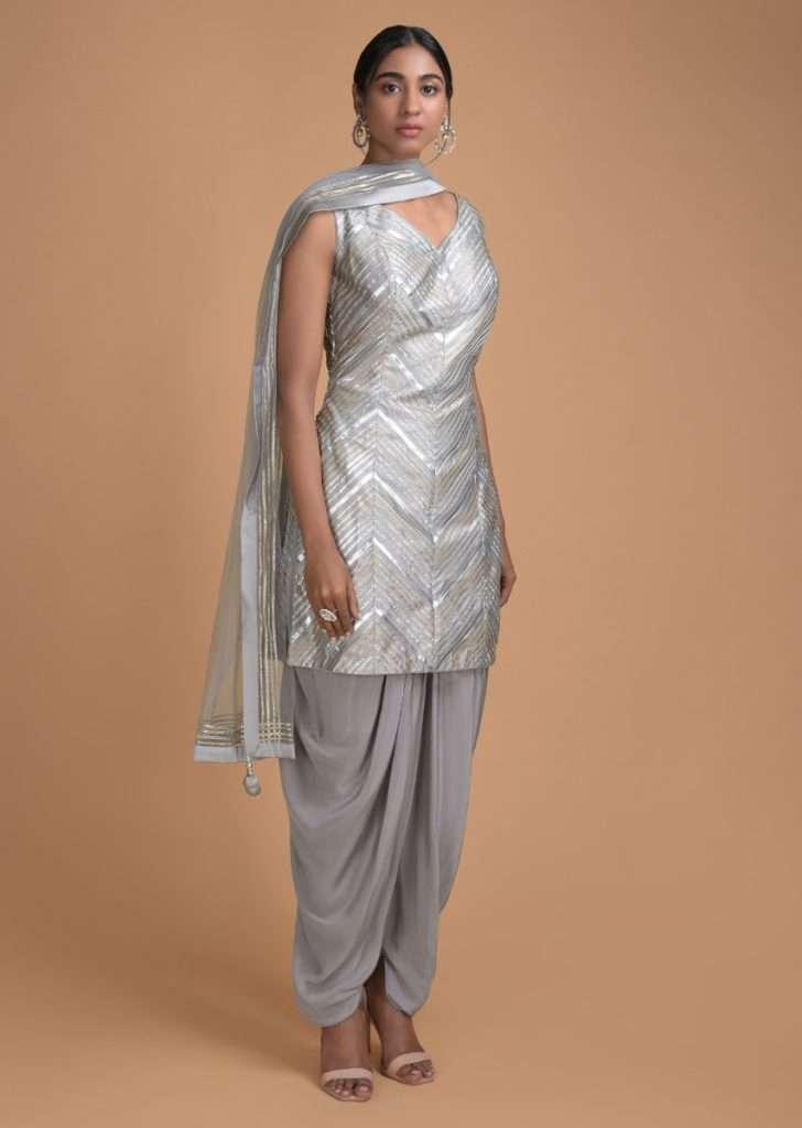 Silver from golden era - Buy patiala suit online