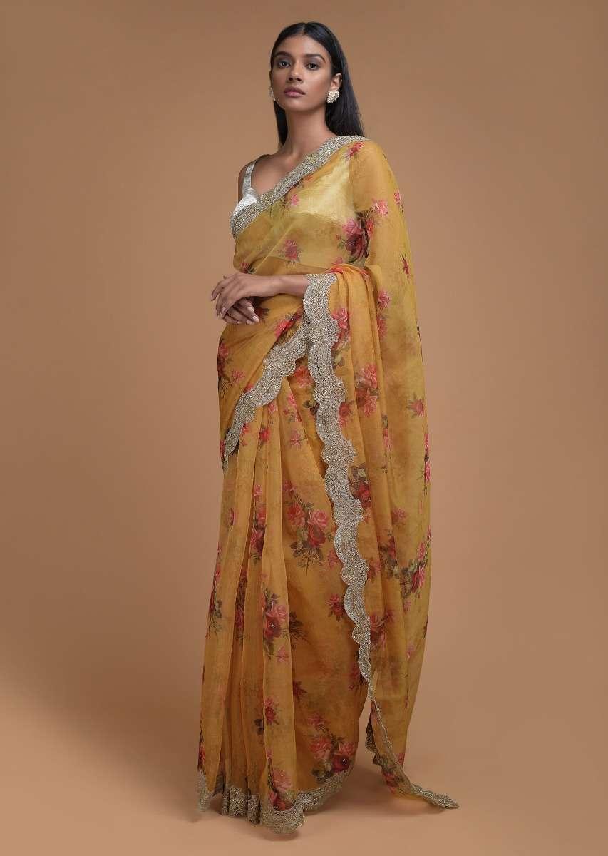butterscotch yellow saree in organza