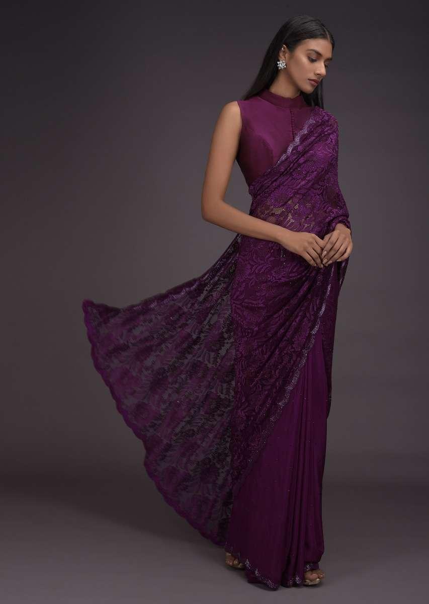 dark shade saree for makar sankranti