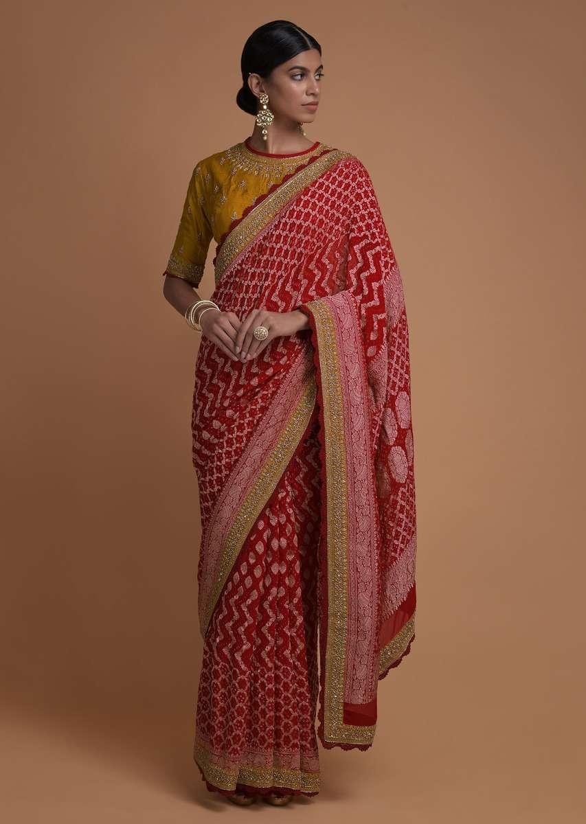 bandhani print saree for Perfect Makar Sankranti