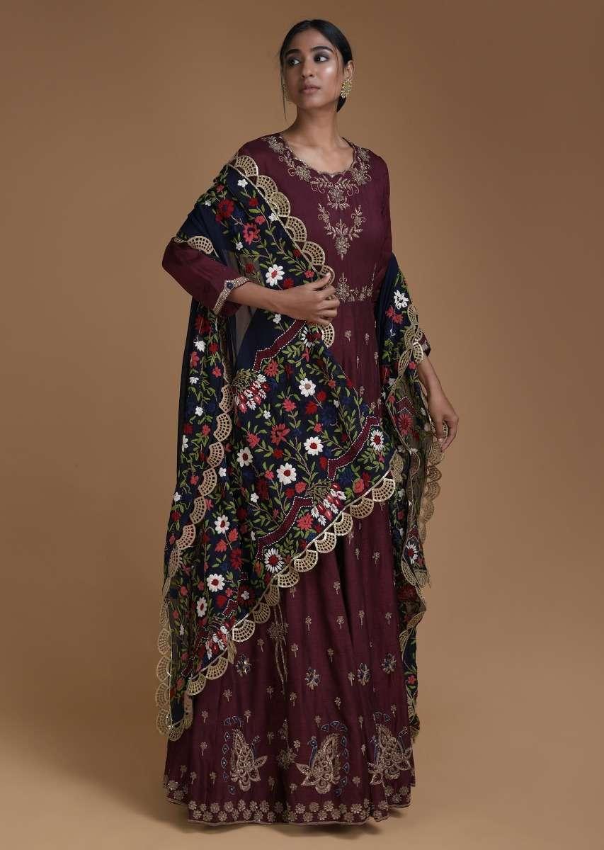 Maroon Anarkali Suit With Midnight Blue Thread Embroidered Dupatta Online