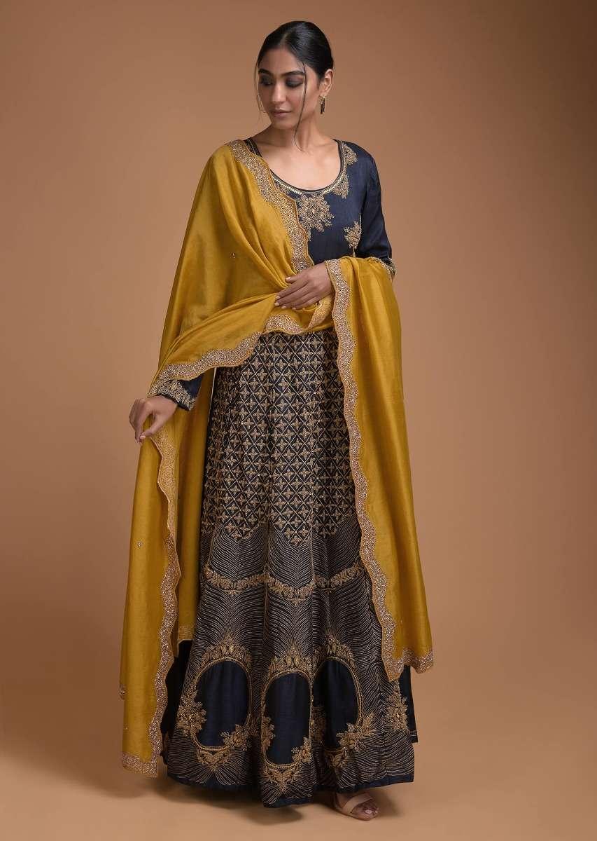 Midnight Blue Anarkali Suit With Contrasting Sun Yellow Dupatta With Zardozi Work Online